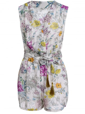 Online Stylish V Neck Sleeveless Flower Print Women's Romper OFF-WHITE L