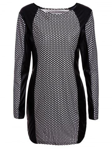 Outfits Long Sleeve PU Leather Splicing Printed Bodycon Dress