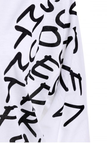 Outfit Letters Print Dolman Sleeve Graphic Top - WHITE  Mobile