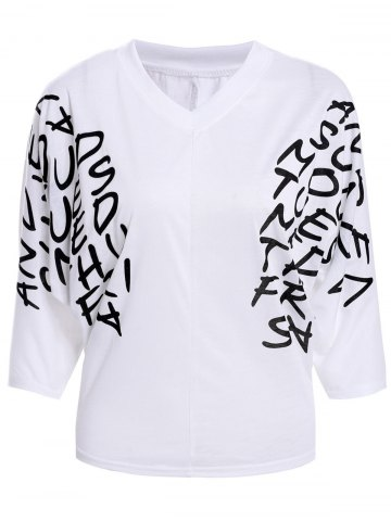 Hot Letters Print Dolman Sleeve Graphic Top - WHITE  Mobile