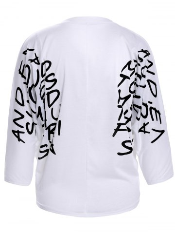 Fashion Letters Print Dolman Sleeve Graphic Top - WHITE  Mobile
