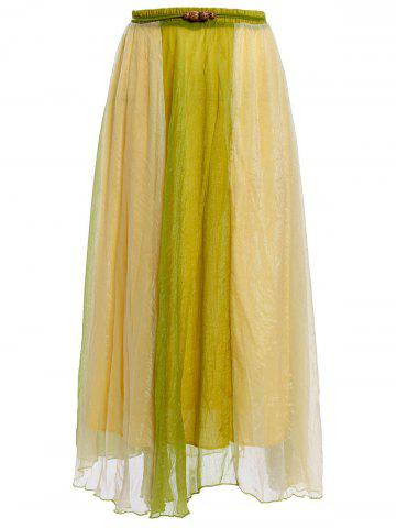 Sale Color Block Flowy Long Skirt - ONE SIZE GREEN Mobile