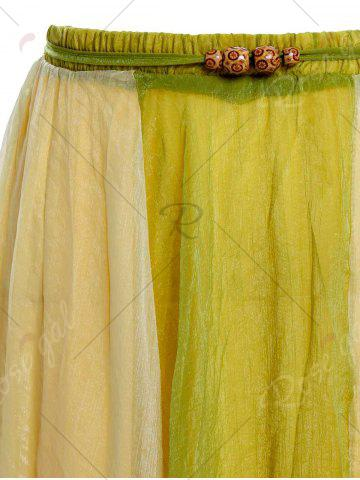 Latest Color Block Flowy Long Skirt - ONE SIZE GREEN Mobile