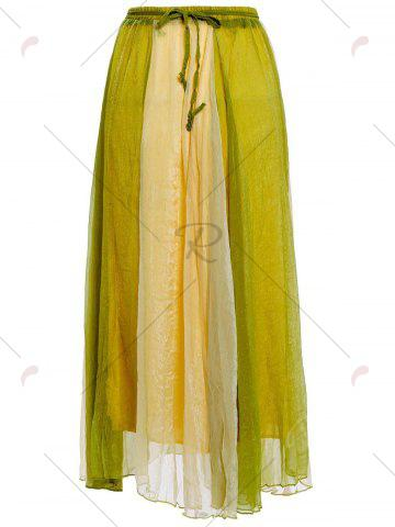 Chic Color Block Flowy Long Skirt - ONE SIZE GREEN Mobile