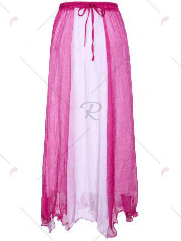 Latest Color Block Flowy Long Skirt - ONE SIZE PLUM Mobile