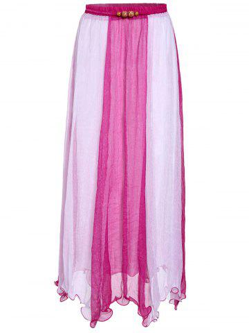 Chic Color Block Flowy Long Skirt - ONE SIZE PLUM Mobile
