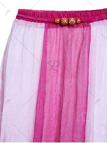 Affordable Color Block Flowy Long Skirt - ONE SIZE PLUM Mobile