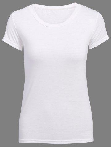 Shop Sweet Candy Solid Color Chic Clipping Cotton Blend Women's T-Shirt