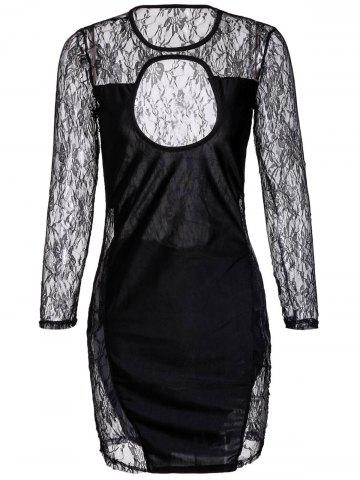 Cut Out Lace Long Sleeve Mini Bodycon Dress