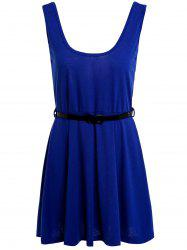 Simple Scoop Neck Sleeveless Backless Solid Color Women's Dress - SAPPHIRE BLUE