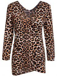 Low-Cut V-Neck Leopard Print Long Sleeves Alluring Women's Bodycon Dress - LEOPARD