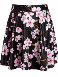 Sexy Floral Print High-Waisted Circle Skirt -