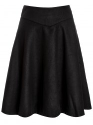 Woolen Midi High Waist Skirt - BLACK