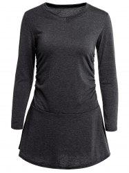 Stylish V-Neck Long Sleeve Flounced Solid Color Women's Dress - DEEP GRAY
