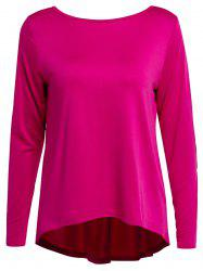 Graceful Jewel Neck Sequin Spliced Long Sleeve Blouse For Women - ROSE XL