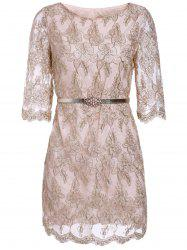 Ladylike Round Collar Gold Thread Embroidery Lace Women's Dress With A Belt -