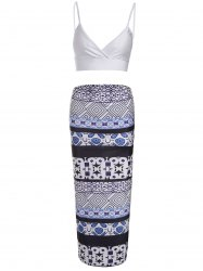 Sexy Spaghetti Strap Low Cut Tank Top + Printed Asymmetrical Skirt Women's Twinset - BLUE AND WHITE