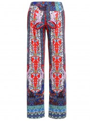 Damask Tribal Print Wide-Leg Palazzo Pants