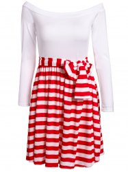 Sexy Slash Collar 1/2 Sleeve Striped Dress For Women - RED WITH WHITE