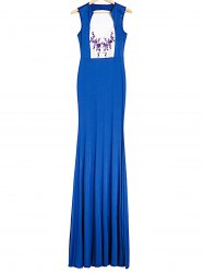 Plongeant Robe sans manches Spliced ​​Backless imprimés Femmes - Bleu Royal