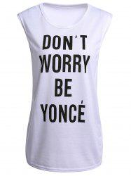Attractive Jewel Neck Letter Printed Tank Top For Women -