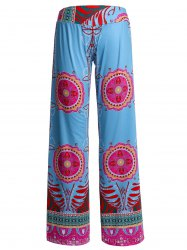 Bohemian Printed Wide-Leg Straight Palazzo Pants