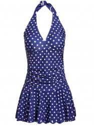 Stylish V-Neck Halter Polka Dot One-Piece Swimsuit For Women