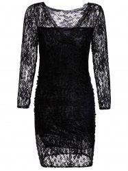Stylish Solid Color Long Sleeve Packet Buttock Lace Women's Dress -