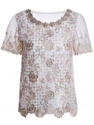 Refreshing Scoop Neck Faux Pearl Beaded Embellished Lace Splicing Women's Blouse - COLORMIX M