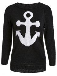 Stylish Jewel Neck Anchor Printed Sweater For Women - BLACK S