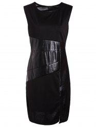 Jewel Neck Sleeveless Faux Leather Bodycon Dress - BLACK