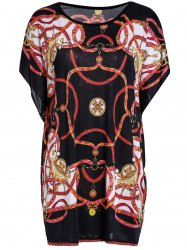 Stylish Scoop Neck Batwing Sleeve Printed Blouse For Women