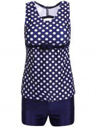 Stylish Scoop Neck Hollow Out Polka Dot Two-Piece Swimsuit For Women