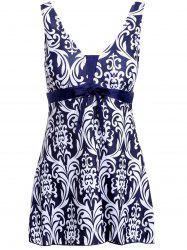 Ethnic Style V-Neck Bowknot Embellished Printed One-Piece Swimsuit For Women