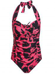 Stylish Halter Hollow Out Printed Ruched One-Piece Swimsuit For Women
