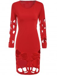 Sexy Round Neck Long Sleeve Solid Color Slimming Hollow Out Women's Dress