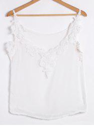 Spaghetti Strap Low Cut Camisole Cami Tank Top - WHITE