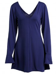 Sexy Plunging Neck Deep Blue Open Back Long Sleeve Dress For Women -