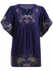 Ethnic Style Embroidery Bell Sleeve Tie Neck Top For Women -