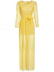 Chiffon Floor Length Maxi Formal Evening Dress with Sleeves
