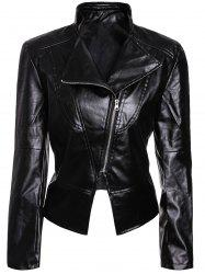 Stylish Turn-Down Collar Long Sleeves PU Leather Black Jacket For Women - BLACK
