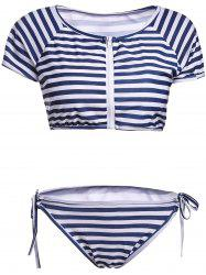 Stylish Scoop Neck Striped Short Sleeve Two Piece Swimwear For Women