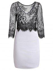 Jewel Neck Long Sleeve Lace Splicing Pencil Dress - BLACK