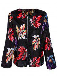 Ethnic Style Round Collar Floral Print Long Sleeve Coat For Women