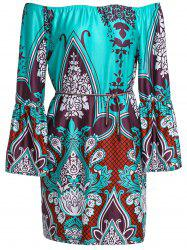 Bohemian Style Scoop Neck 3/4 Sleeve Printed Dress For Women