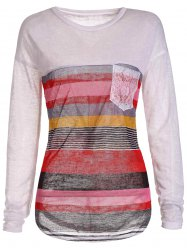 Trendy Jewel Neck Long Sleeve Colorful Striped Irregular T-Shirt For Women