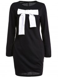 Bowknot Insert Mini Casual Classy T-Shirt Dress - BLACK M
