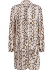 Sexy Long Sleeve Python Printed Shirt Dress For Women