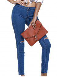 Mid Waist Ripped Skinny Jeans -