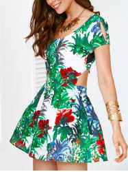 Scoop Neck Self Tie Cut Out Back Women's Print Dress -